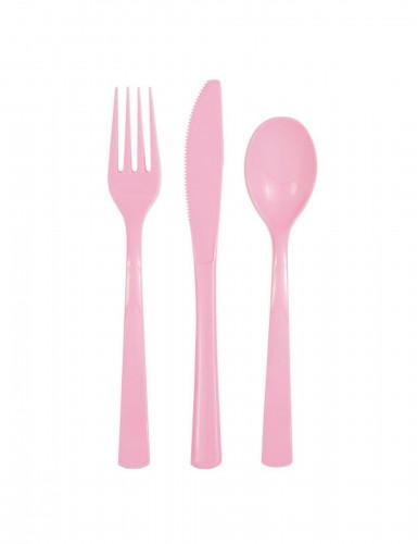 Confezione 18 posate in plastica rosa