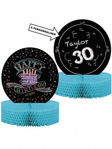 Centrotavola in carta con scritta Happy Birthday personalizzabile