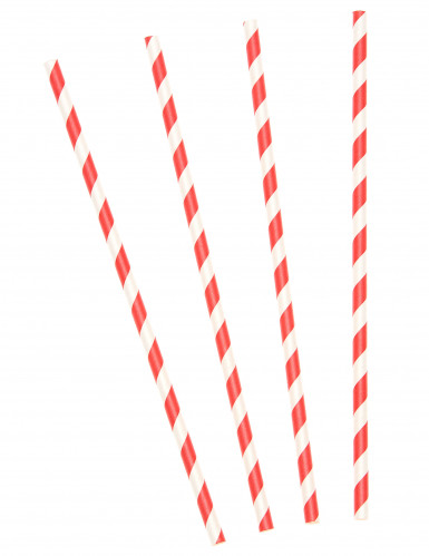 Confezione cannucce in cartone a strisce bianche e rosse
