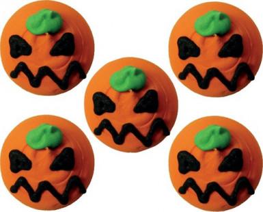 5 mini Decorazioni per dolci a forma di zucca di Halloween.