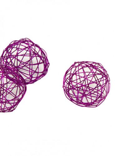 6 decorazioni a forma di sfera prugna metallizzato da 3,5 cm