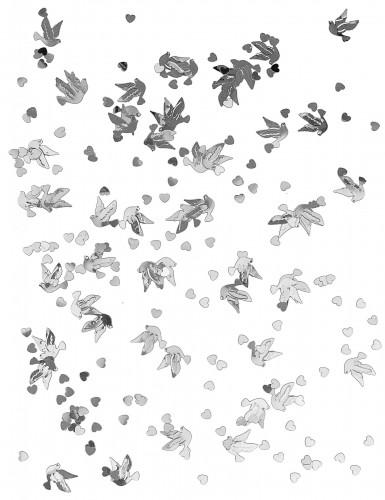 Coriandoli da tavola colombe e cuori argento-1