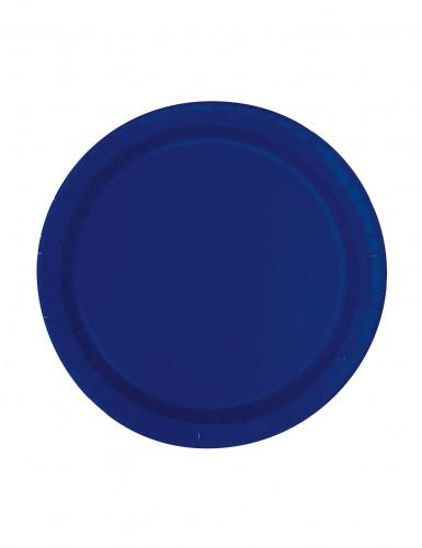 8 piattini di cartone blu marino 18 cm