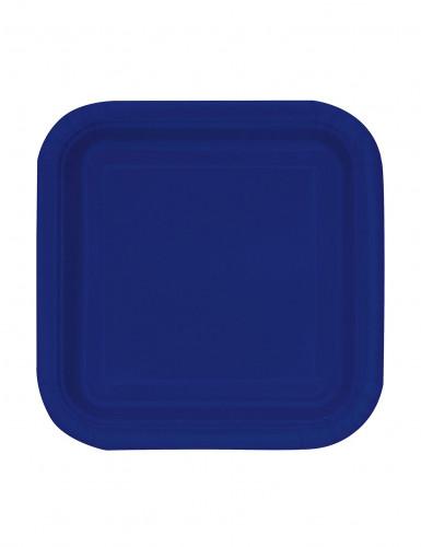 16 piccoli piatti di carta quadrati color Blu navy 18 cm