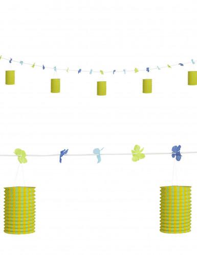 Ghirlanda fiori e lanterne colori verde giallo