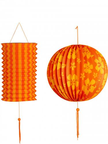 2 lanterne arancioni e gialle stile Hawaii