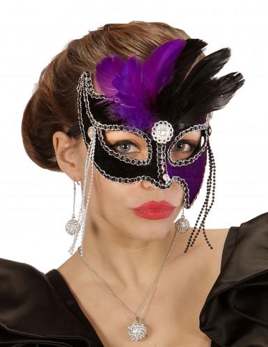Maschera di Carnevale bicolore con piume nere e viola adulto