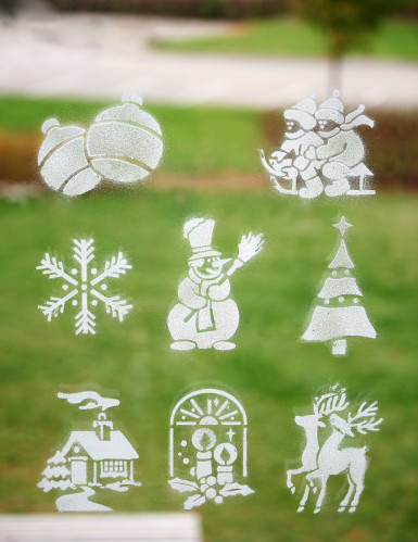 Spray neve fosforescente con 8 mascherine tema natalizio-1