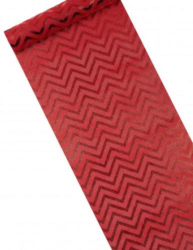 Runner da tavola in tessuto rosso con stampa a zig zag