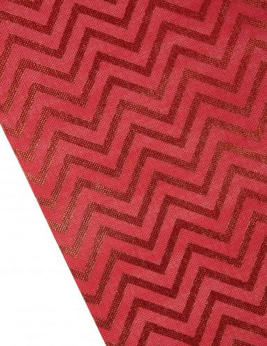 Runner da tavola in tessuto rosso con stampa a zig zag-1