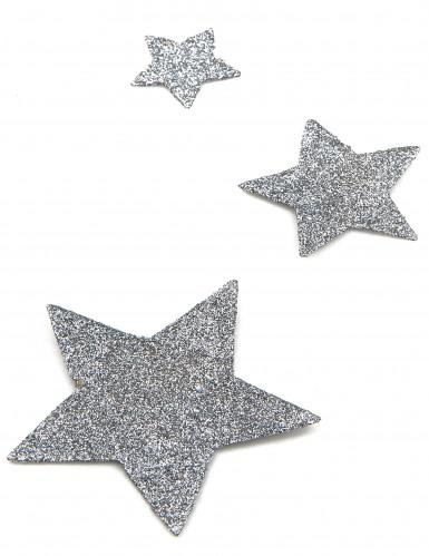 6 decorazioni da tavola stella con paillettes argentate-1