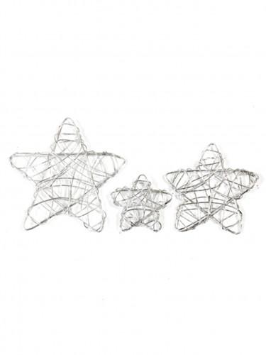 6 decorazioni stelle argentate di metallo