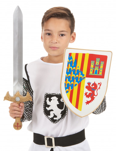 Spada e scudo da vero cavaliere per bambino-1