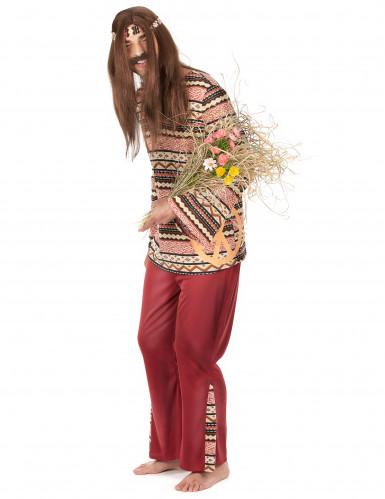 Costume bordeaux da hippie per uomo-1