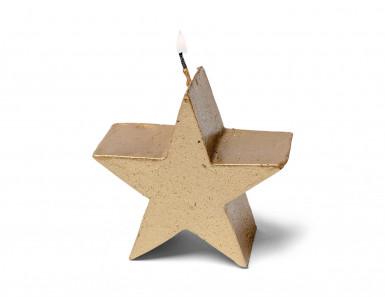 Candela a stella color oro da 7,5 cm