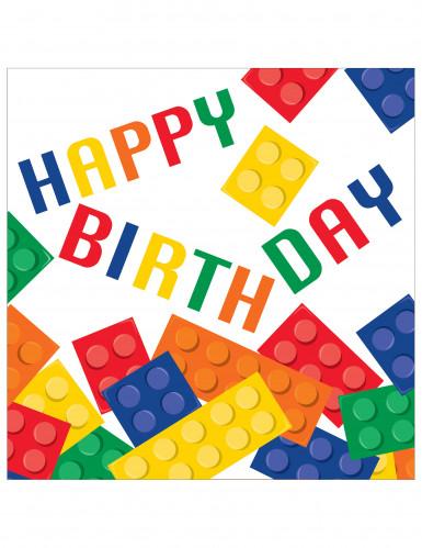 16 tovaglioli a tema gioco di costruzioni con la scritta Happy Birthday