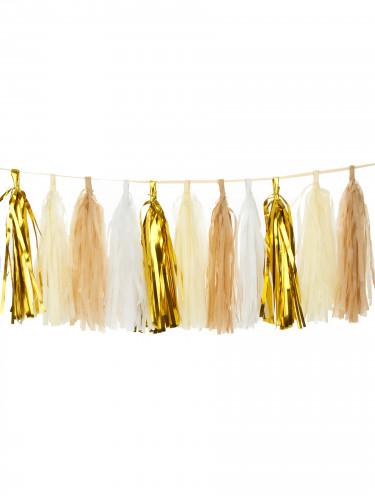 Lotto da 6 pompon con nappa di color oro-1