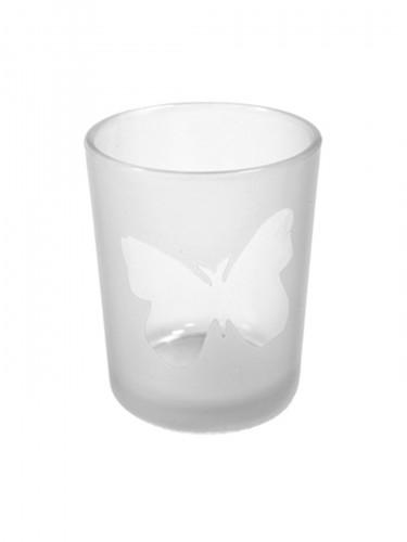Portacandele in vetro con farfalla