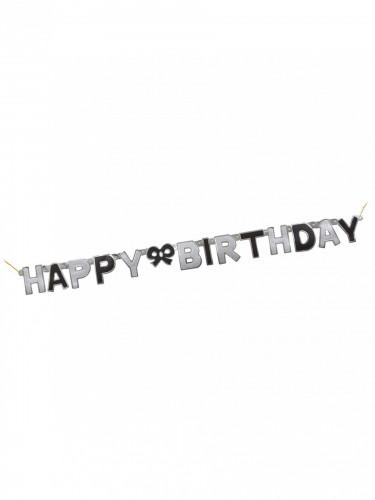 Ghirlanda nero e argento Happy Birthday