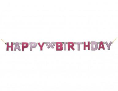 Ghirlanda articolata Happy Birthday rosa con paillettes