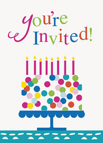 Biglietti d'invito Happy Birthday turchese