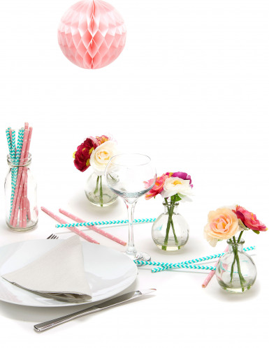 10 cannucce rosa bonbon con stelle bianche-2