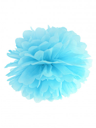 Pompon appendibile in carta blu cielo 25 cm