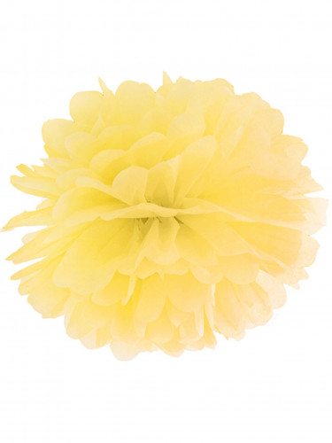 Pompon da appendere in carta gialla 35 cm