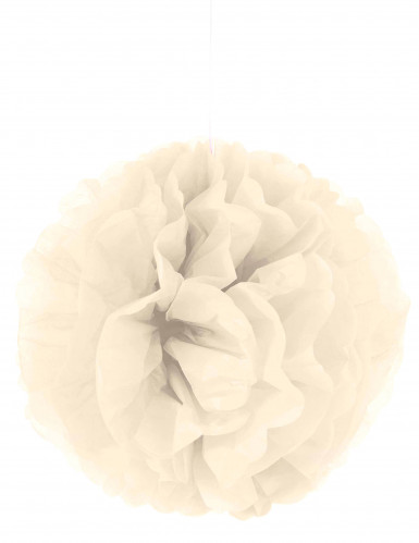 Pompon da appendere in carta color crema 35 cm