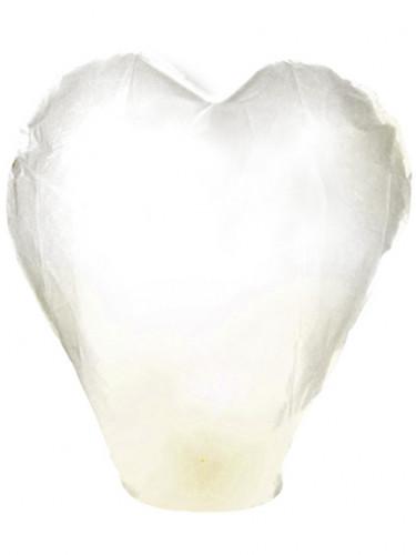 Lanterna volante gigante a forma di cuore bianca 95 cm