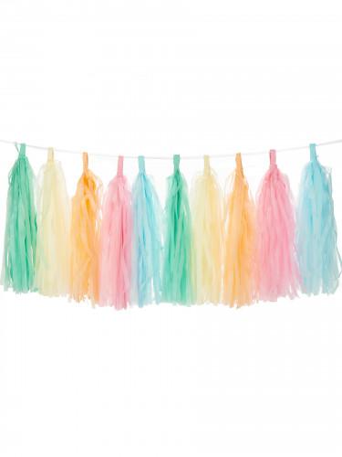 Festone arcobaleno con 30 ponpon a forma di nappa