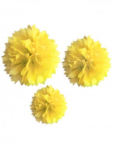 3 pompon in carta gialla dal diametro di 20 cm, 30 cm e 40 cm