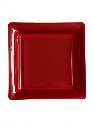 12 piattini quadrati in plastica bordeaux
