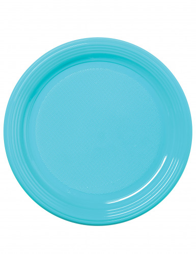 50 piattini di plastica celesti