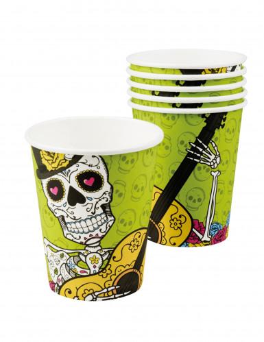 6 bicchieri di cartone Dia de los muertos-1