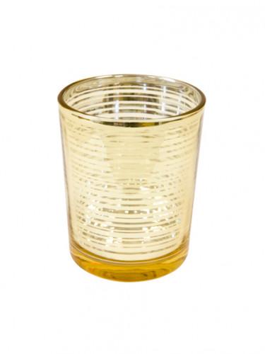 Portacandele in vetro dorato su vegaooparty negozio di - Portacandele in vetro ...