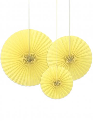 3 rosoni decorativi color giallo chiaro