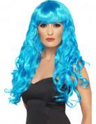 Parrucca da sirena riccia e blu lunga da donna