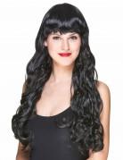 Parrucca nera lunga con frangia da donna