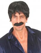 Parrucca nera da cantante disco per uomo