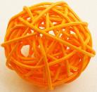 6 palle in vimini di colore arancione diametro 3.5