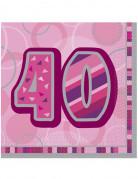 Tovaglioli per i 40 anni di colore viola e rosa