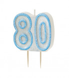 Candelina 80 anni blu