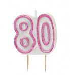 Candelina 80 anni rosa