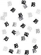 Coriandoli neri e grigi con il numero 18