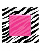 Confezione da 8 piatti quadrati di carta con fantasia zebrata