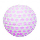 Lanterna giapponese bianca a pois rosa 35 cm