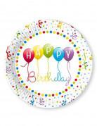 8 piatti di carta Happy Birthday 23 cm