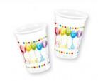 8 bicchieri di plastica Happy Birthday