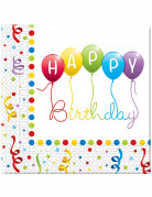 20 Tovaglioli di carta Happy Birthday 33 x 33 cm